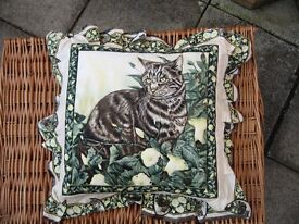 Pair of Cat Quilted Cushions with Cushion Pads Fully Washable