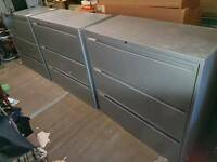 Filing / Storage Cabinet - Solid Grey Metal 3 Drawer Storage / Filing Cabinets