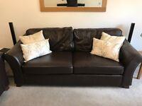 M & S large leather sofa