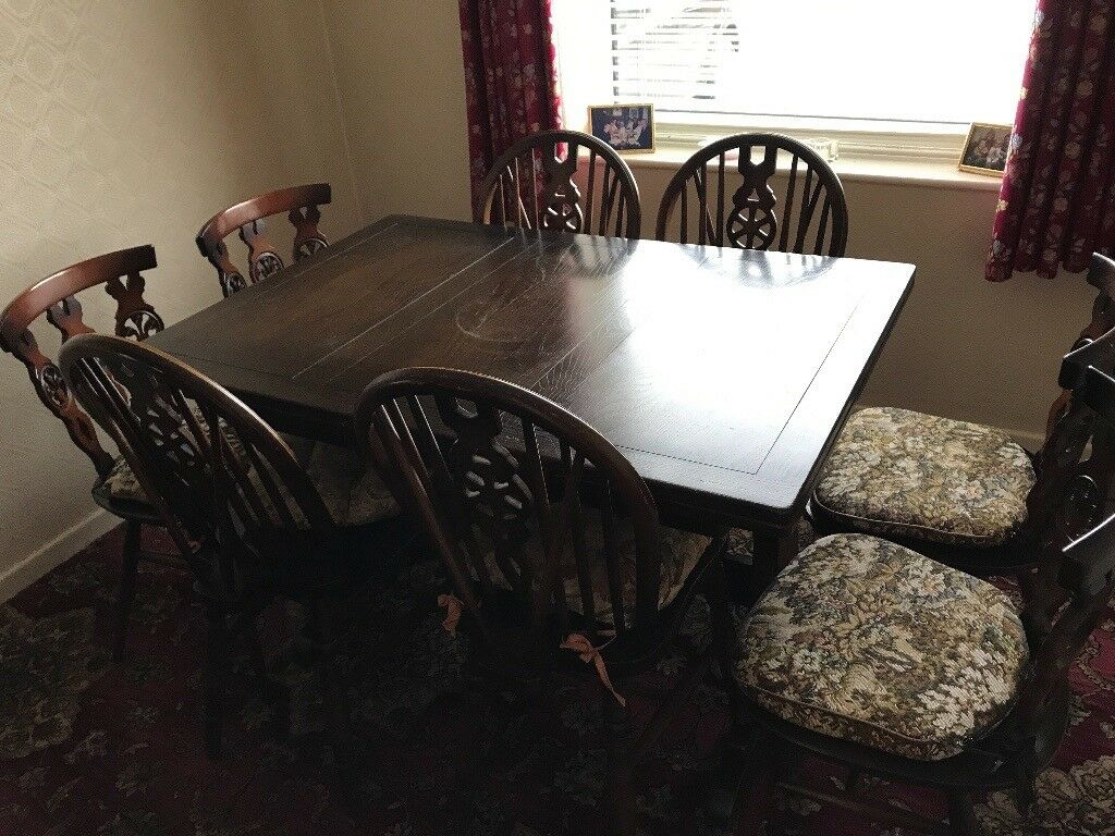 Large Dark solid wood extendable dining table with 8 chairs (2 styles)