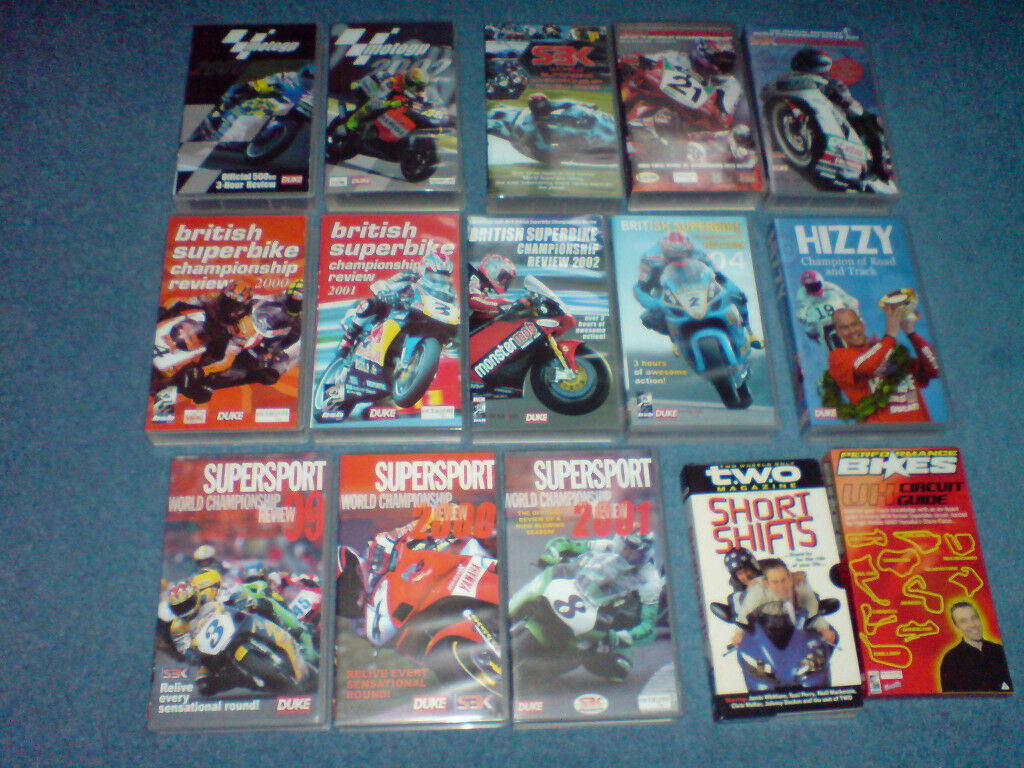 Motorcycle VHS videos, British SuperBike, World SuperBike & SuperSport, Moto GP, excellent condition
