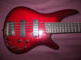 Ibanez SR375 BBS , 5-String Active Bass Guitar.