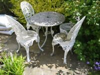 White cast aluminium (metal) garden table and four chairs - needs repainting