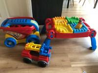 Mega Bloks toy bundle worth over £75, table, wagon and fire engine
