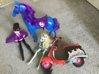 Monster high horse and motor bike and 2 dolls for sale