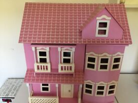 Pretty Dolls House with lots of furniture