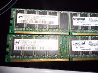 2 Strips Crucial DDR 400 512mb memory