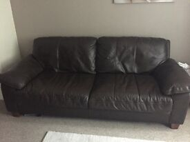 DFS Leather Prodigy 3 Seater Sofa, Armchair and Pouffe