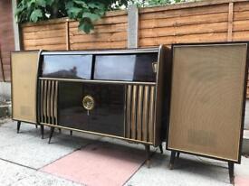 1950s 'Garrard' stereo unit cabinet w/ vinyl radio speakers drinks cabinet
