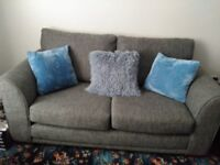 For sale, sofa and chair from Next. Grey material, very good condition, just over 2 years old.