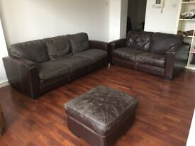 Leather sofas and puff