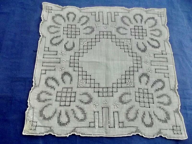 Antique Unused Cotton Handkerchief Geometric Drawnwork Embroidered Bridal Hankie