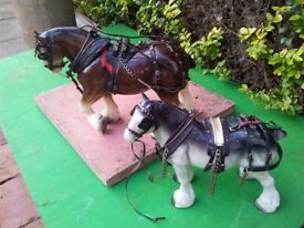 two large shire horses and reins harnesses