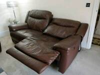 Electric Brown Genuine leather Recliner sofa
