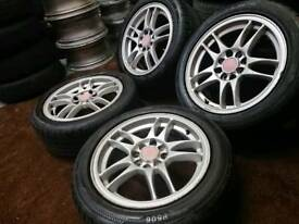 "Twin spoke 15"" 4x100 4x108 alloy wheels + 4 good tyres ford citreon honda toyota"
