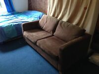 Brown Faux Suede Sofa Bed