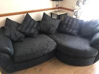 Curve sofa and swivel love chair