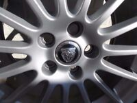 GENUINE JAGUAR .. 17 INCH SET OF FOUR ..15 X SPOKE ALLOY SPORTS WHEELS NEW TYRES & UNMARKED V.G.C.