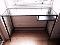 IKEA VITTSJÖ DESK - Black with glass top, excellent condition
