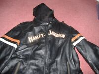 gents gen harley davidsn leather jacket with removeable hoodie xl
