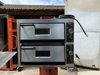 USED 1 PHASE 2 DECK PIZZA OVEN CATERING COMMERCIAL KITCHEN FAST FOOD KITCHEN