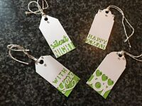 Pack of 4 handmade white/green xmas gift tags with gems