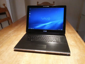 "SONY VAIO VGB-AR 17.3"" LAPTOP, DUAL CORE 1.86GHz, 3GB, 160GB, WIFI, DVD, BLUETOOTH, TV TUNER, OFFICE"