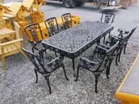 Aluminium garden table with 8 armchair garden furniture set