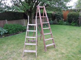 Old wooden stepladders