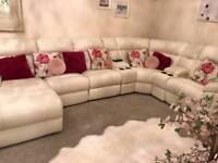large cream LAZYBOY leather corner sofa 2 months old