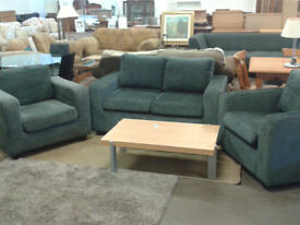 Chenille style 2 seater sofa with 2 matching armchairs