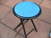 Blue Foldable Seat Stall Style Chair - Ideal for Festival Season and Light Weight - Durable