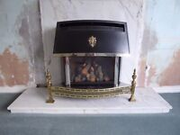 Gas fire (Valor) and marble hearth and back