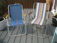 2x 1960's Retro Folding Striped Garden Patio Chairs-Wood Armrests VW Camper Van