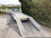 Blue Line Galvanised 14 foot twin axle (Ifor Williams) car transporter/plant trailer plus H/D ramps