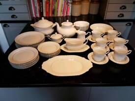 43 Piece Dinner and Tea Set, White with Gold Detailing, Chodziez Make, Unused condition