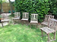 6 Hardwood Garden Chairs