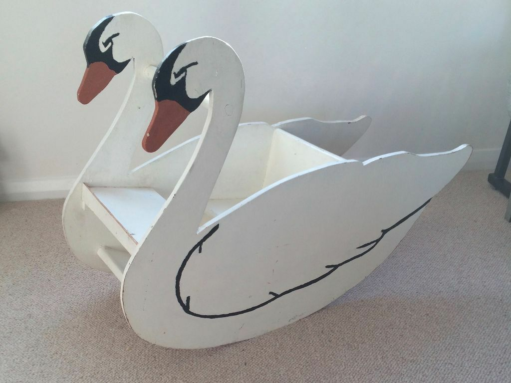 Vintage Wooden Swan Baby Rocker In Lewes East Sussex