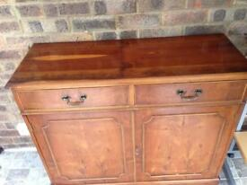Two parts reproduction yew wood Display cabinet