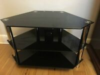 Black glass and chrome TV stand with 3 shelves (H53cm, W80cm, D45cm)