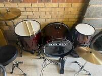 Mirage Raven Acoustic Drum Kit in 'Red Wine'