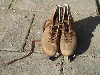 Ice skates size 4 Freesport brown suede