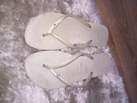 Havianas sandals white and blue uk 8/7 flip flops designer