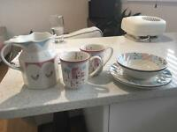 Pretty China plates, bowls, mugs & jug