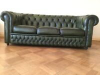 Green Leather 3 Seater Chesterfield Style Sofa