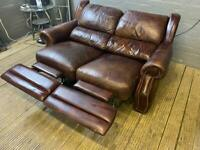 CHESTERFIELD LEATHER SOFA ELECTRIC RECLINER VERY COMFY
