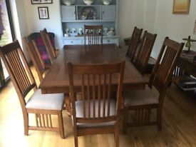 8 SEATER DINING TABLE WITH 2 CARVERS AND 6 CHAIRS