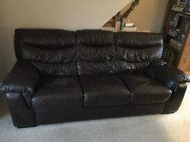 Two Brown Leather DFS 3 Seater Sofas