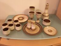 Fantastic Set of Cornish Pottery: Plates, Cups, Wine Glasses, Side Plates, Salt & Pepper Shaker!