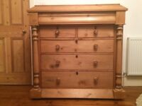 Victorian Pine Chest Of Draws - Mother of Pearl Inlay on Handles